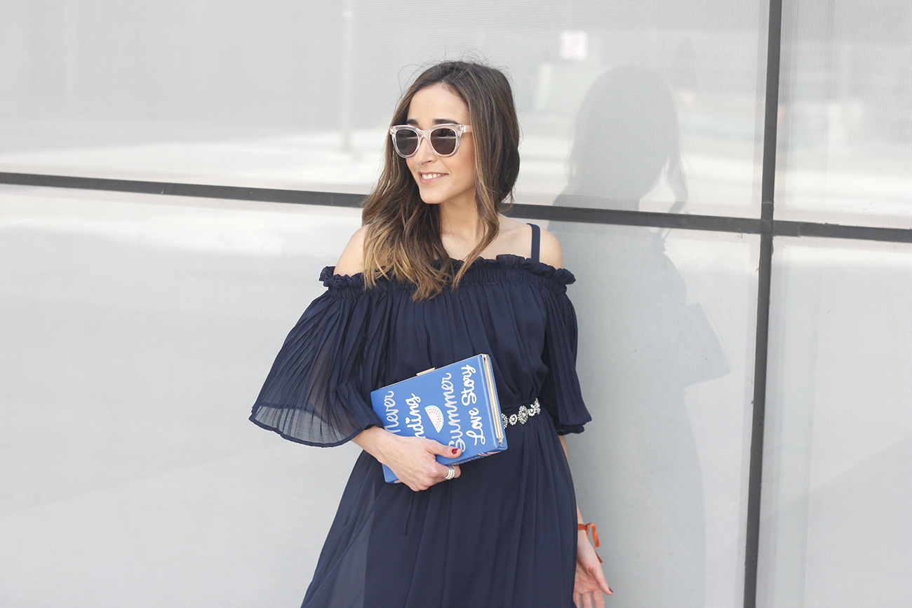 A Midi Dress With Pleated Ruffles heels clutch accessories sunnies fashion outfit summer17