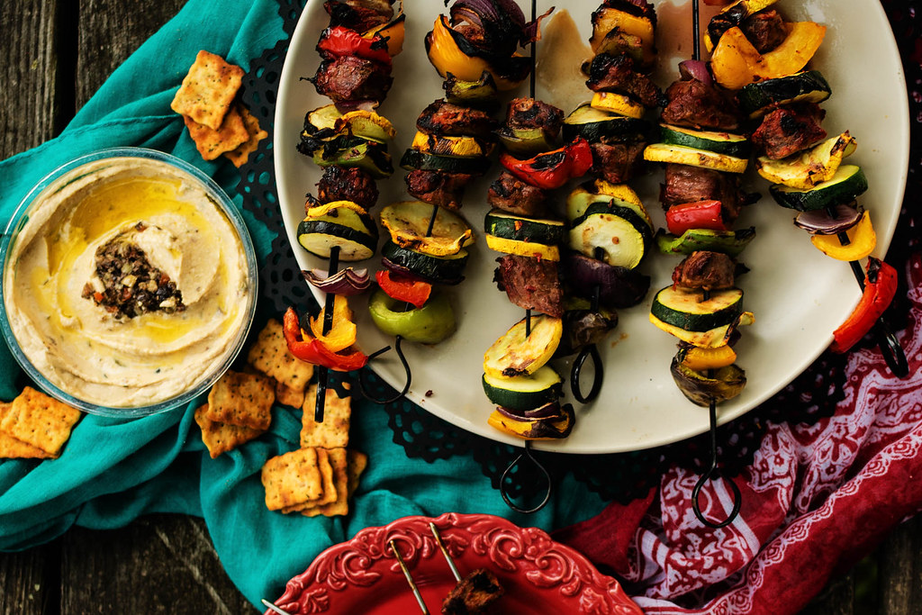 Harissa Marinated Grilled Lamb Kabobs. Perfectly spiced kabobs for an exotic grilled backard feast