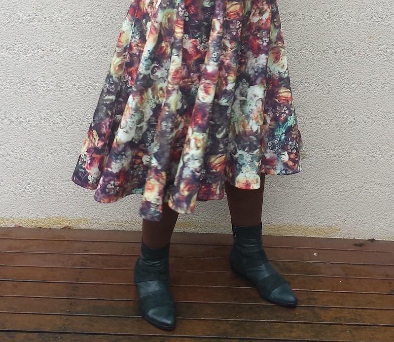 Crafty Mamas Queen Bee dress in printed scuba