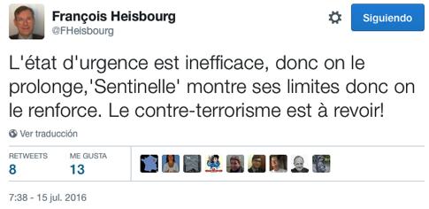 16g15 François Heisbourg crítica política anti terrorista