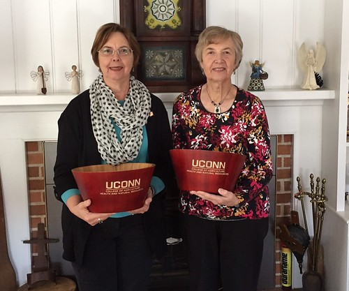 Clinton S. Roberts' nieces and foundation board members Linda Arbesman, '68 Nursing (left) and Ellen Ferrier, '63 CLAS.