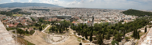 Panorama from Acropolis south (Dionysus theatre, Acropolis Museum, ...)