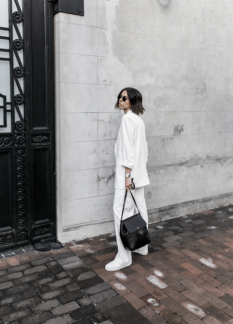 all white suit street style inspo fashion blogger celine Loxley bucket bag sneakers modern legacy minimal Instagram (5 of 18)