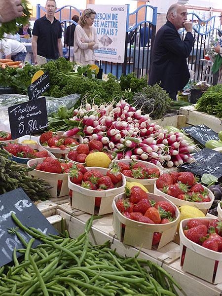 haricots, fraises et radis