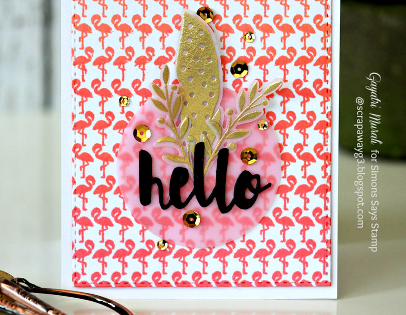 Hello flamingo card closeup
