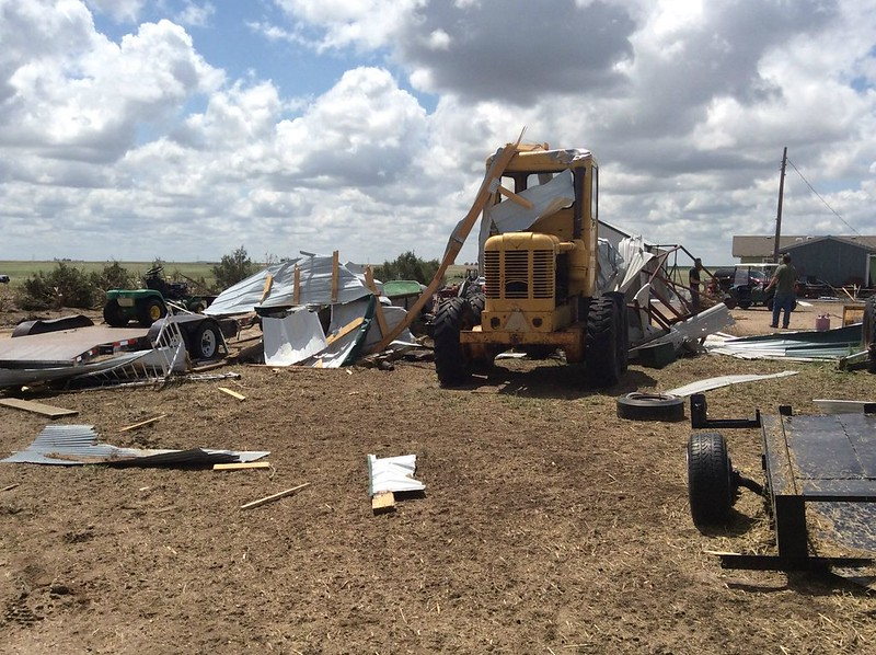 Damage from a May 24, 2016 tornado is seen on a farm near Platner, Colorado. (National Weather Service)