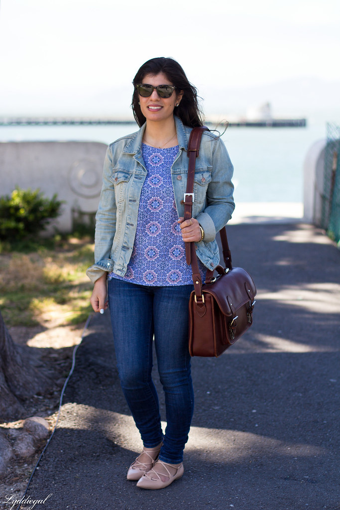 Printed tank, denim jacket, jeans, lace up flats, ona camera bag.jpg