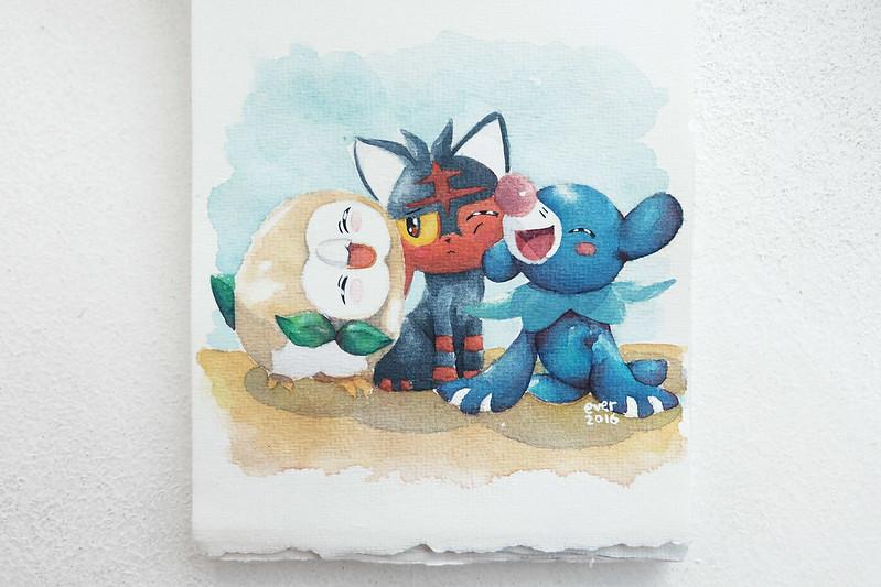 Sundae Scoops Pokemon Sun and Moon Watercolor Rowlet Litten Popplio by Elaine Valerie Ramos