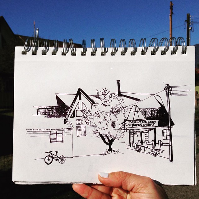 Escuela Ramón Guiñez #ramonguinez #Pucón #Chile #drawingtothepeople #urbansketchers #usk #drawings