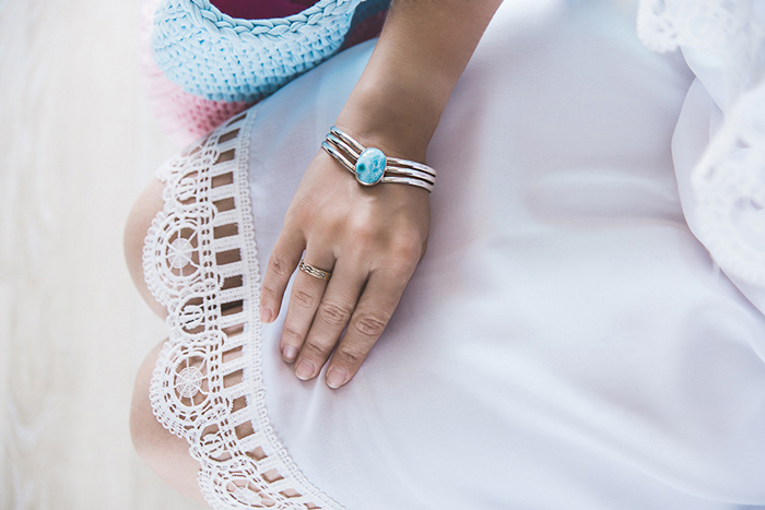 Olga Choi fashion blogger South Korea myblondegal Larimar silver bracelet Gvozdishe Knitting bag-04350 copy
