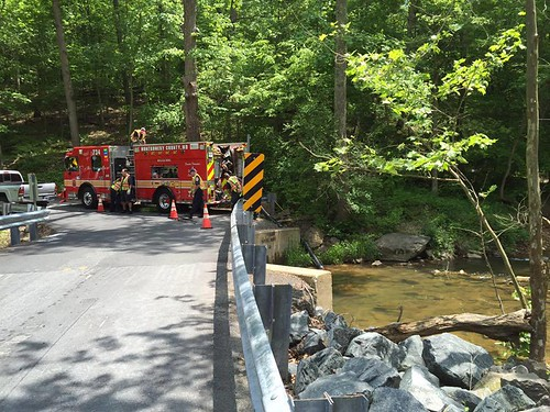 units from fire station 34 shown drafting water from a creek