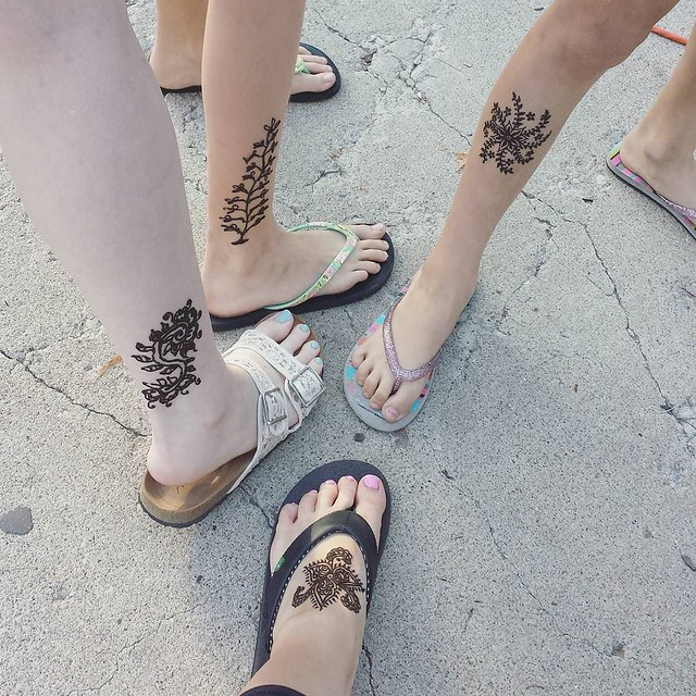 henna tattoos with my girls again! No line at the tent tonight 😊 #yxefringe