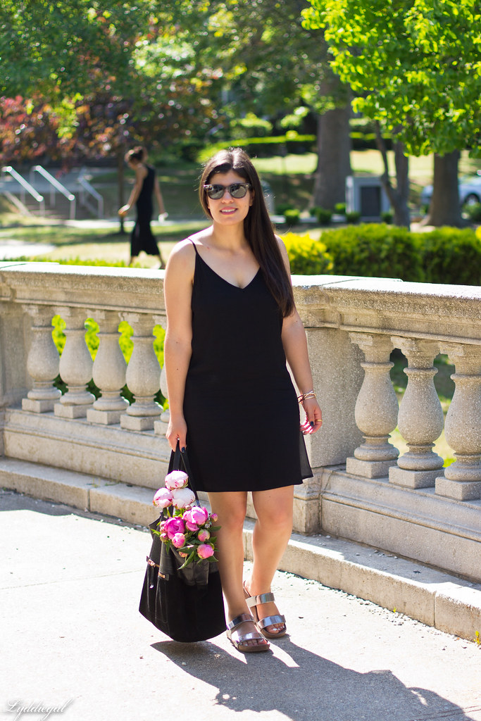 black slip dress, silver vionic sandals, black tote, peonies.jpg