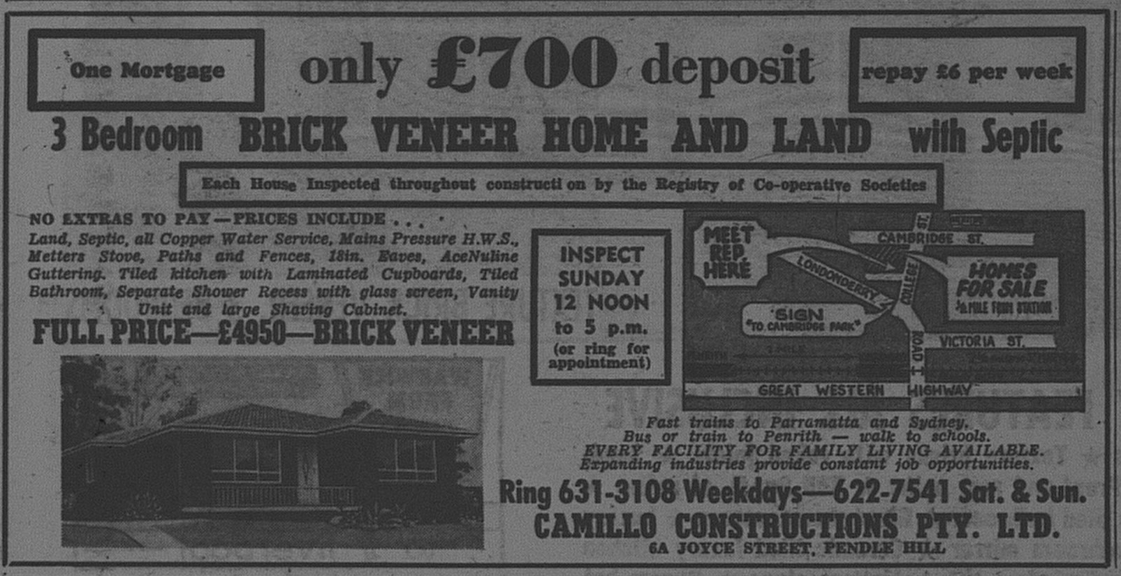 Camillo Construction Homes Ad May 6 1967 daily telegraph 30