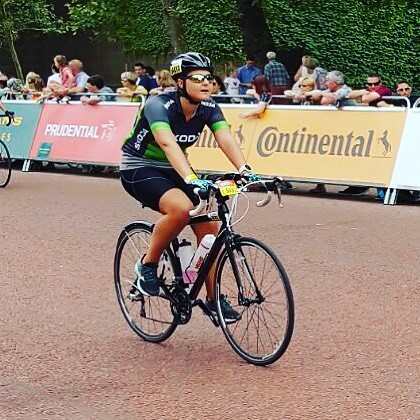 100m from the finish line. I fucking well did it! I rode 100! #ridelondon