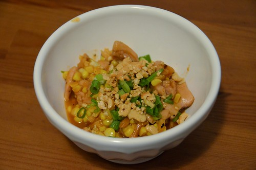 Spicy Chicken & Korean Rice Cakes with Sweet Corn, Shiitake Mushrooms & Ginger Cashews