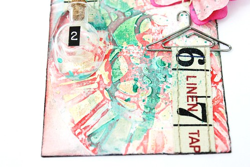 Meihsia Liu Simply Paper Crafts Mixed Media Tag Tiny Bottle Simon Says Stamp Monday Challenge Tim Holtz 5