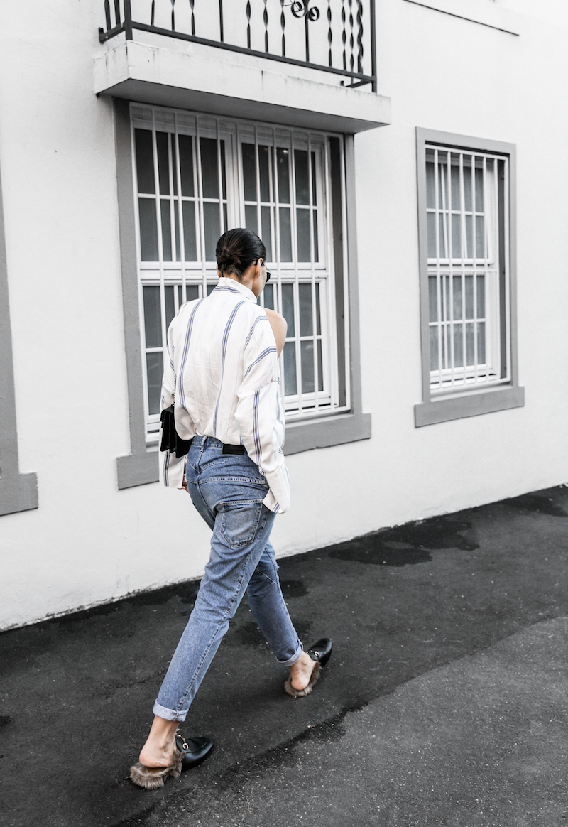 bassike lo slung jeans Gucci dionysus bag black fur horsebit loafers Tibi pinstripe shirt cold shoulder street style fashion blogger minimal modern legacy (3 of 8)