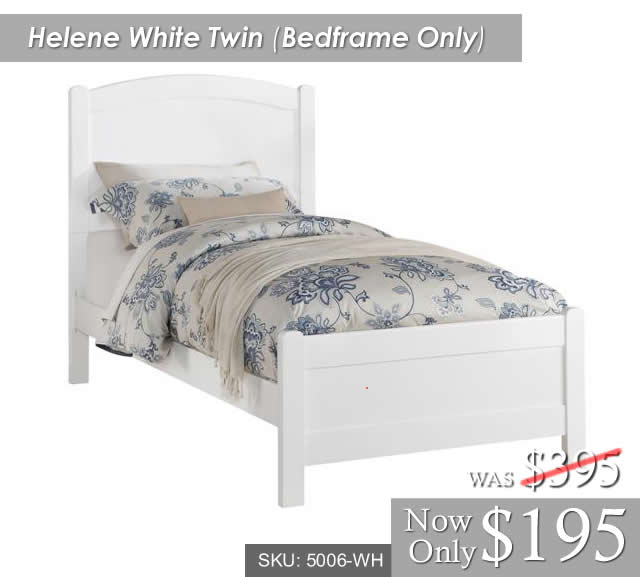Helene White Twin Bedframe Only 5006-CH[1]