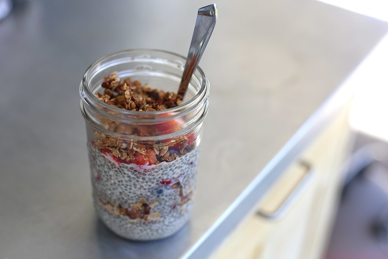 chia seed pudding withfruit and homemade granola