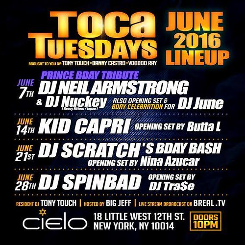 June Lineup TocaTuesdays @ Cielo with Tony Touch