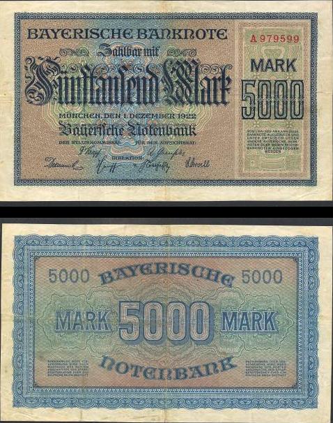5000 Mariek Bavorsko (Nemecko) 1922, R06