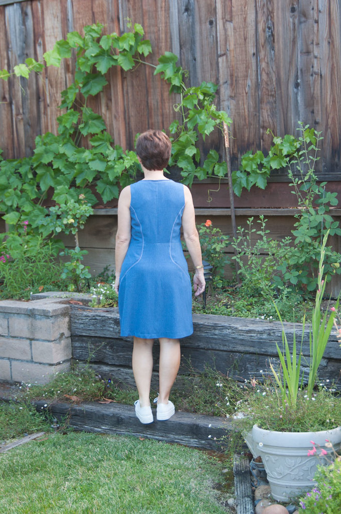 blue denim dress back