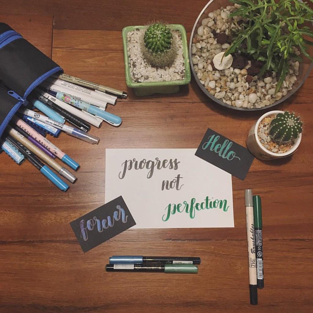Watercolor and brush pens