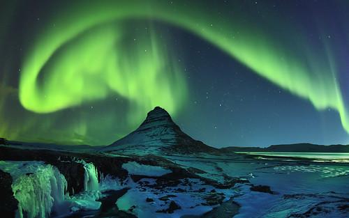 Freezing Kirkjufell and aurora storm, Snæfellsnes, Iceland