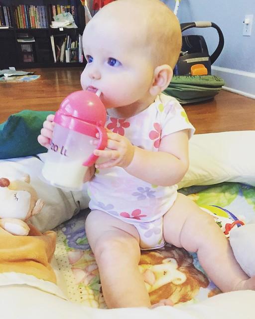 Using a straw at 6 months! #genius #biasedmom