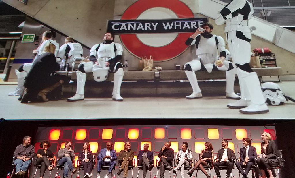 Rogue One cast and crew (and stormtroopers in the London underground) #swcepics #swce