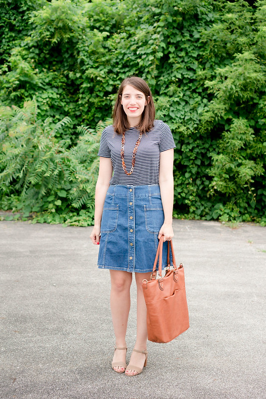 Fourth of July outfit; Boden denim skirt + Old Navy stripe tee + tortoise shell necklace + Target cognac tote | Style On Target