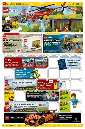LEGO July 2016 Store Calendar