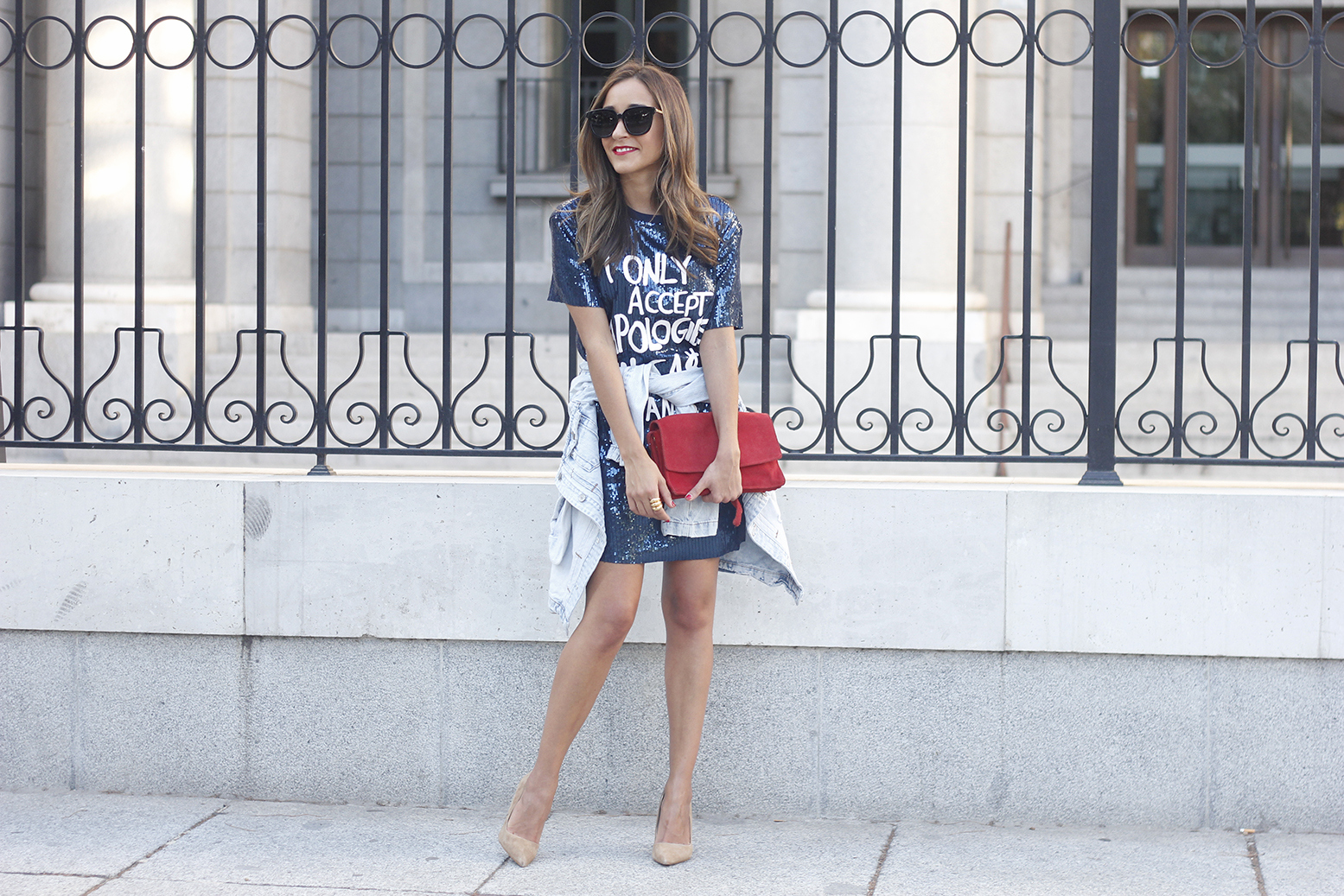 blue sequined dress nude heels denim jacket sunnies red bag accessories style fashion outfit22