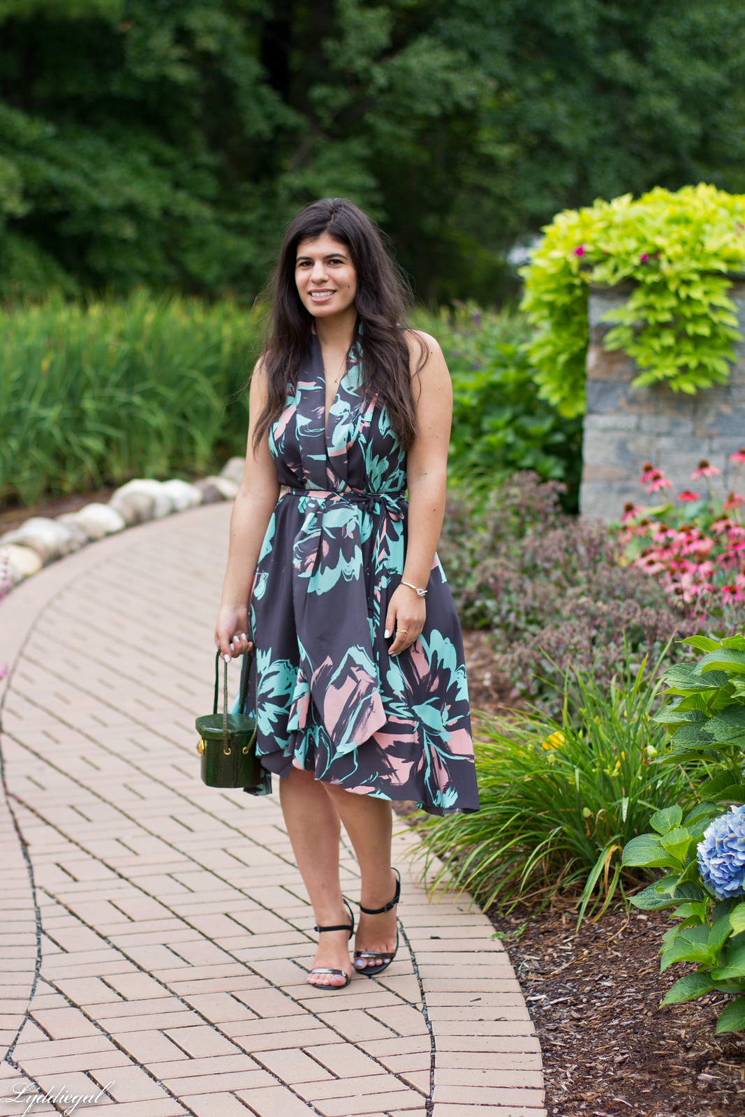 Silk floral print dress, vintage box handbag, black sandals-1.jpg