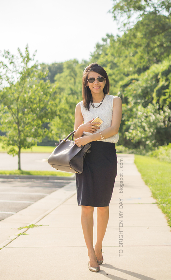 mixed chain necklace, sleeveless lace top, navy pencil skirt, floral cuff, gray tote, glitter pumps