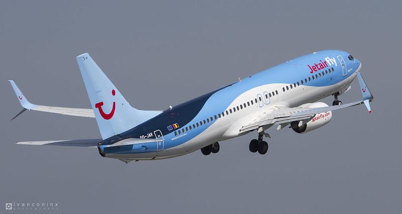 Boeing 737-8K5 – Jetairfly (TUI Airlines Belgium) – OO-JAV – Brussels Airport (BRU EBBR) – 2016 05 06 – Takeoff RWY 07R – 02 – Copyright © 2016 Ivan Coninx