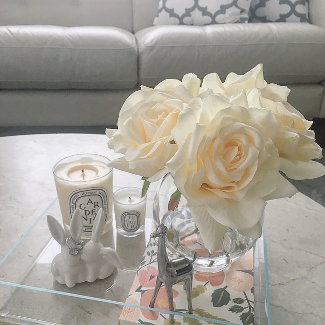 Coffee Table Display with Silk Roses & Diptyque candles