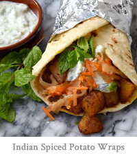 Indian Spiced Potato Wraps with Easy Raita & Spicy Slaw