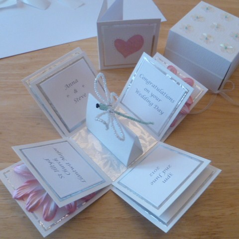Wedding Exploding Box Card Dragonfly Gerbera Completed