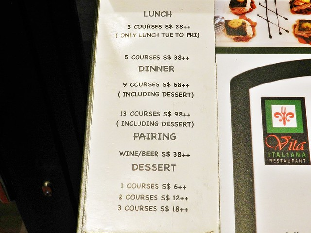 Vita Italiana Menu Price List