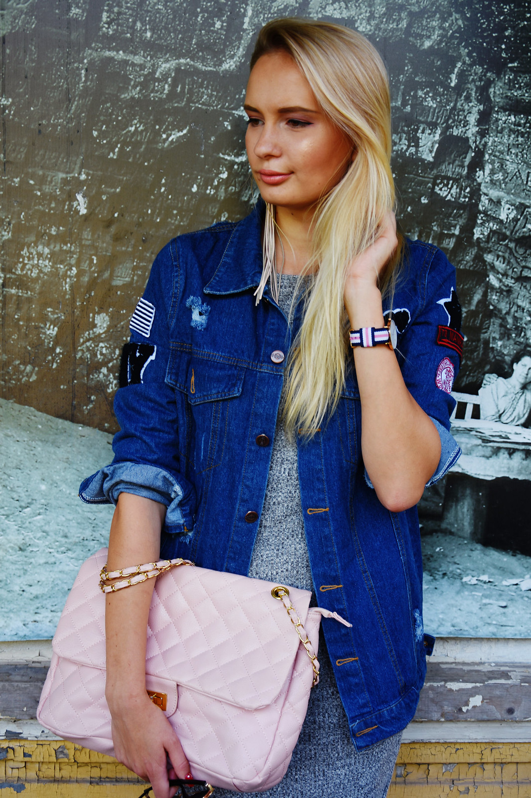 Styling a distressed denim jacket