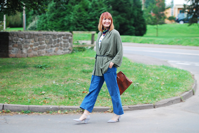 How to style cropped wide leg jeans for autumn (fall) - olive cardigan - Birkin-style bag - coloured neck scarf   Not Dressed As Lamb, style over 40