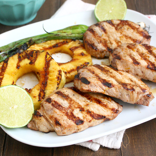 Grilled Ginger-Sesame Pork Chops with Pineapple and Scallions | by Tracey's Culinary Adventures