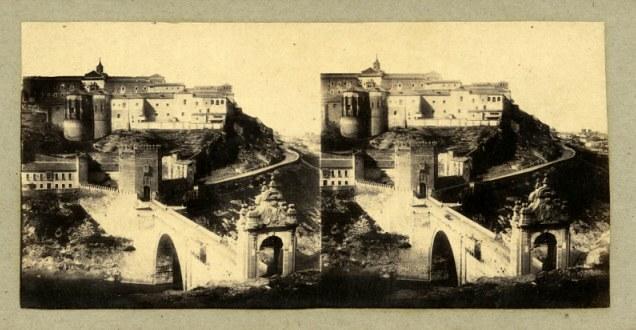 Puente de Alcántara (Toledo) en 1856. Fotografía estereoscópica de Joseph Carpentier
