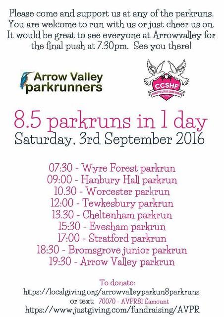 Arrow Valley parkrun 8.5 parkruns in a day
