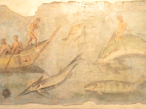 Fresco of fishermen with sea creatures | by Ian W Scott