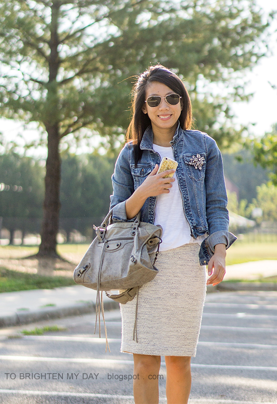denim jacket, sparkly brooch, white tee, tweed pencil skirt, gray tote