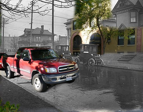 Electric cars on Summit Ave, Seattle, 1913 and 2012 | by Rob Ketcherside