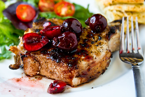Grilled Pork Chops with Balsamic Pickled Cherries | by TheBrewer&TheBaker